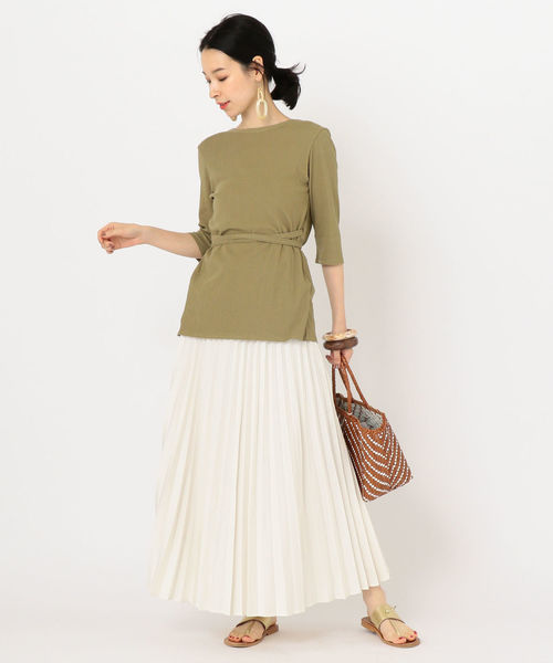 [SHIPS for women] デニムライクプリーツスカート