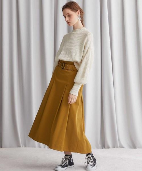 [STUDIOUS WOMENS] 【STUDIOUS】ベルトマークロングフレアースカート