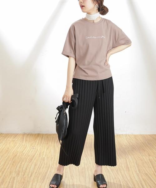 [natural couture] 太プリーツリブカットパンツ