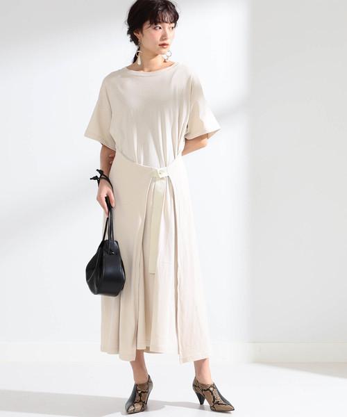 [BEAMS WOMEN] Ray BEAMS / ラップ フロント ロングTシャツ ワンピース