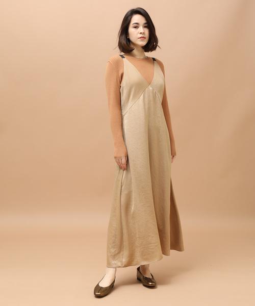 [ADAM ET ROPE'] ピーチサテンキャミドレス