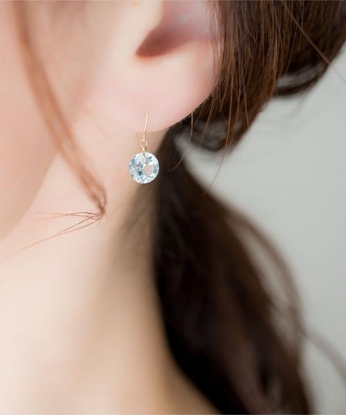 [TONE] 【Meach.】K18宝石質ストーンゴールドフックピアス