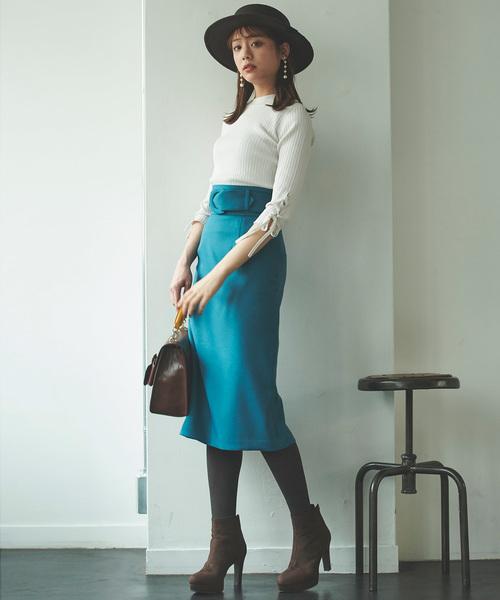 [31 Sons de mode] ハイウエストベルトカラースカート