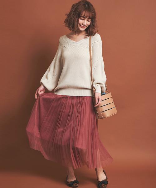 3[31 Sons de mode] 《WEB限定カラーあり》チュール×サテン2WAYスカート