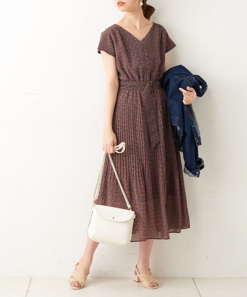 [natural couture] カシュクール2WAYプリーツワンピース