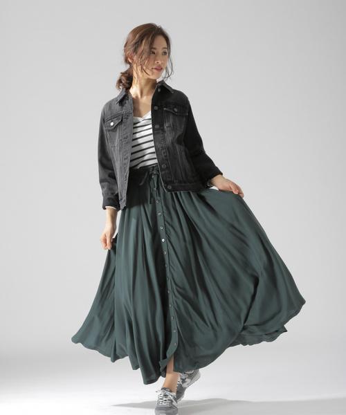 [BAYFLOW] フロントボタンロングスカート