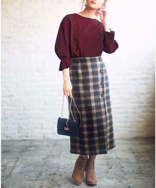 [GeeRA] 【19秋新着】ラップ風チェック柄ナロースカート