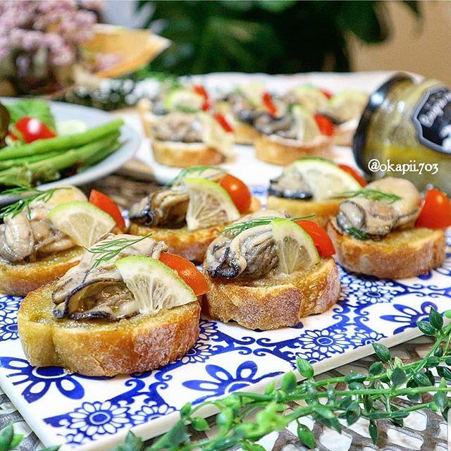 ⑯簡単パン:牡蠣のせブルスケッタ