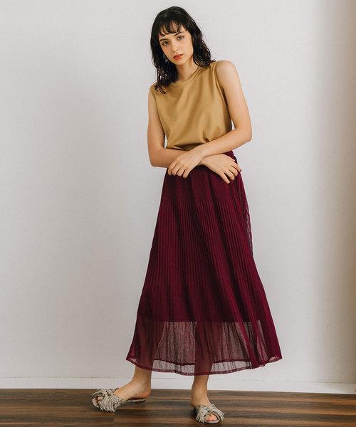 [PUBLIC TOKYO] シースルーニットプリーツスカート