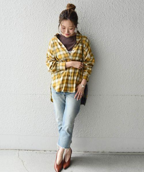 [SHIPS for women] Khaju:チェックオーバーサイズシャツ◇