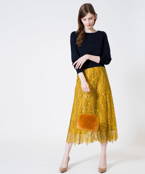 [allureville] 配色レースフレアースカート