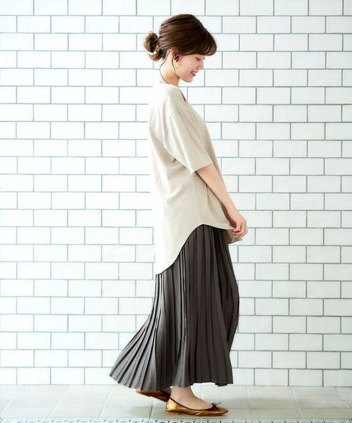 [le.coeur blanc] ビンテージサテンロングプリーツスカート