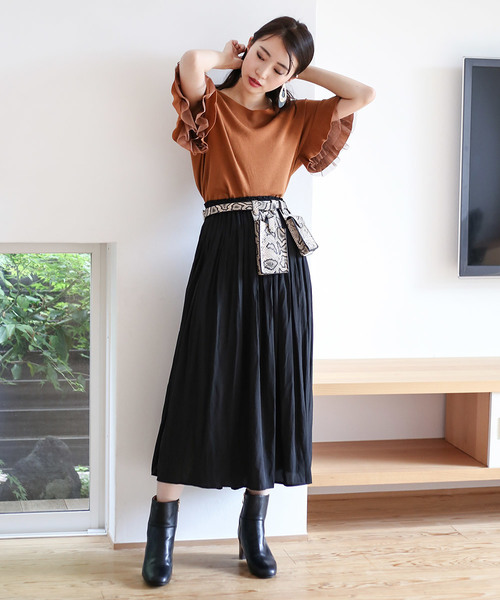 [Bou Jeloud] 〈2019AW新作〉ヴィンテージライクなマットサテン◆ギャザースカート
