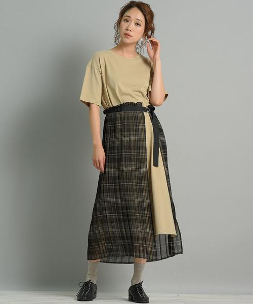 [LIPSTAR] 【WEB別注カラー有】【セット商品】ラッププリーツスカート×カットワンピース