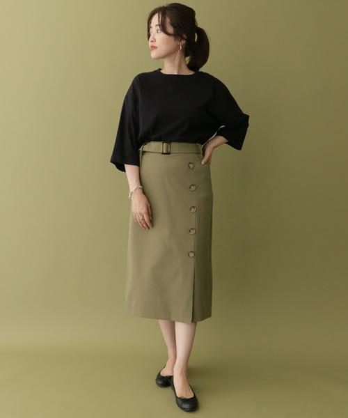 [ITEMS URBANRESEARCH] 前ボタンラップ風スカート