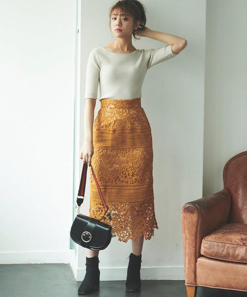 1[31 Sons de mode] ケミカルレース切替ロングタイトスカート