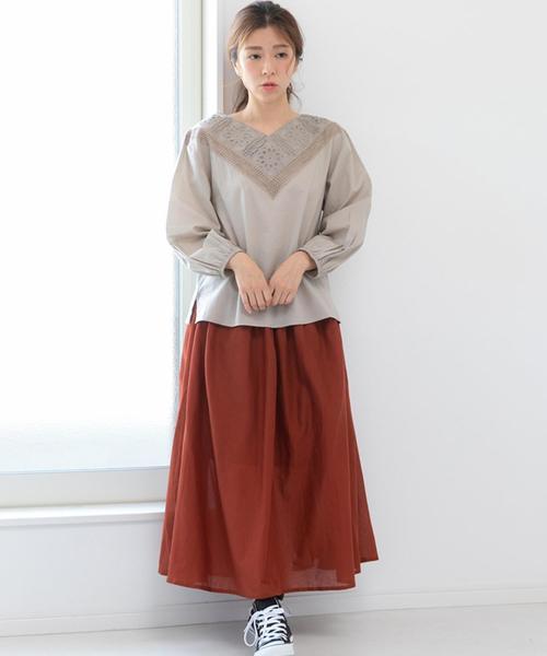 [Fizz] インド綿ボイルフレアロングスカート
