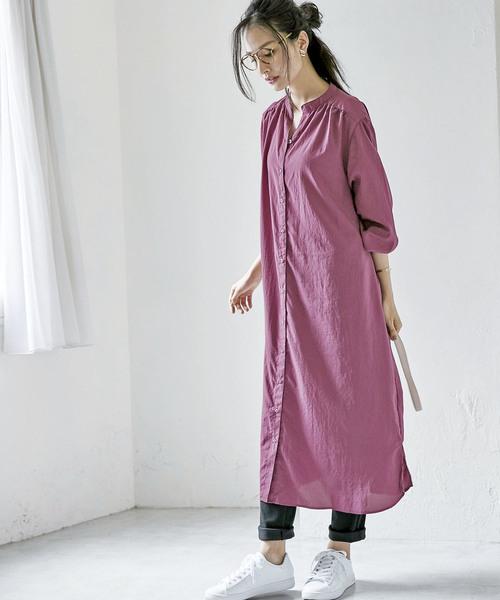 [BELLUNA PLUS] スタンド衿ロングシャツワンピース
