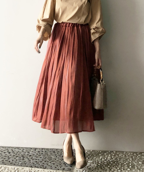 [PICCIN] シャイニーサテンギャザースカート