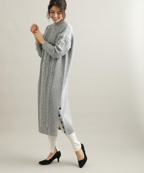 [ViS] 【WEB限定サイズ:MT】【着丈が選べる】裾釦ハイネックニットワンピース