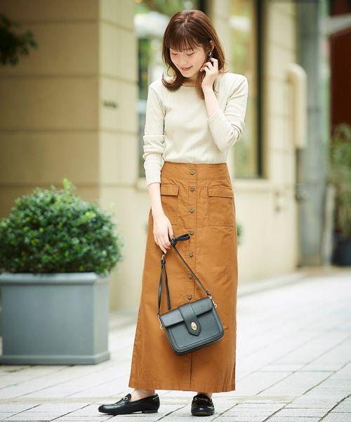 [le.coeur blanc] ビンテージバックサテンフロントボタンスカート