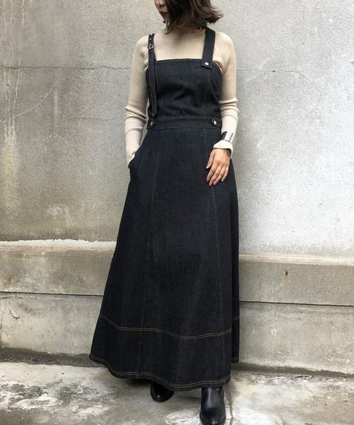 [HER CLOSET] 【&g'aime】デニムジャンパースカート