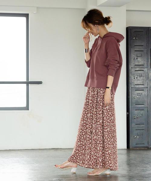 [coen] プリントタックロングスカート