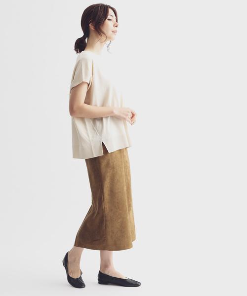 [ADAM ET ROPE'] CAPスウェードタイトスカート