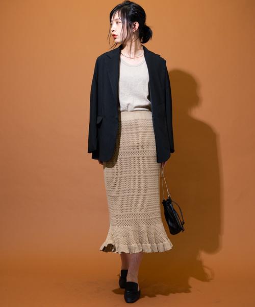 [YARD PLUS/AUNT MARIE'S] AUNT MARIE'S カギ編みニットロングスカート