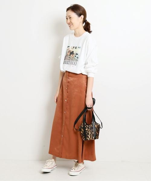 [IENA] サテンフロントボタンスカート