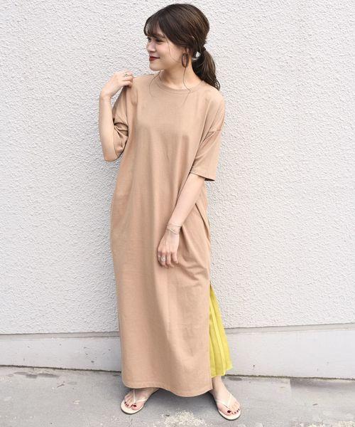 [SHIPS for women] otonaMUSE×SHIPS プリーツスカート付きTEEシャツドレス