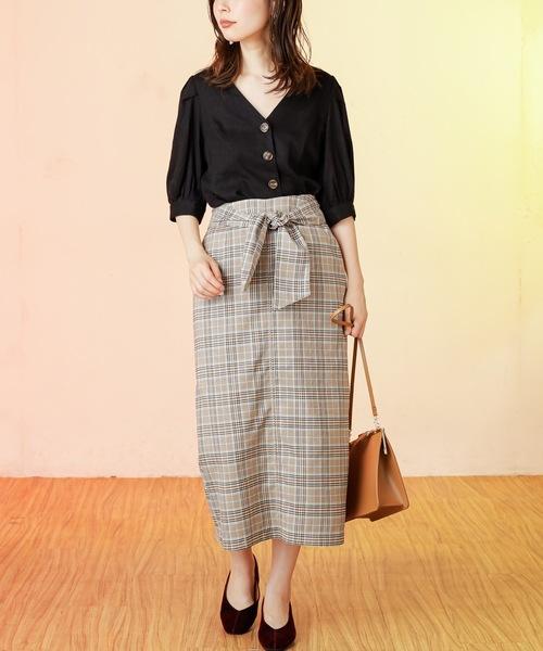 [natural couture] ベルト付きゆるタイトスカート