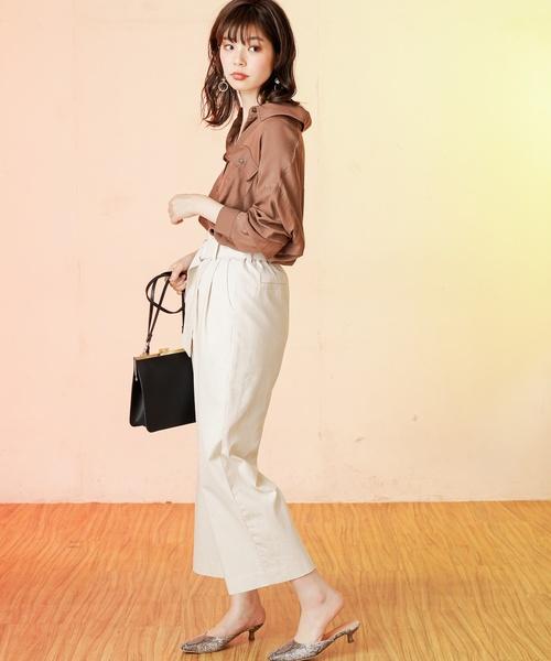 [natural couture] 【WEB限定カラー有り】ベルト付きてろっとBIGシャツ