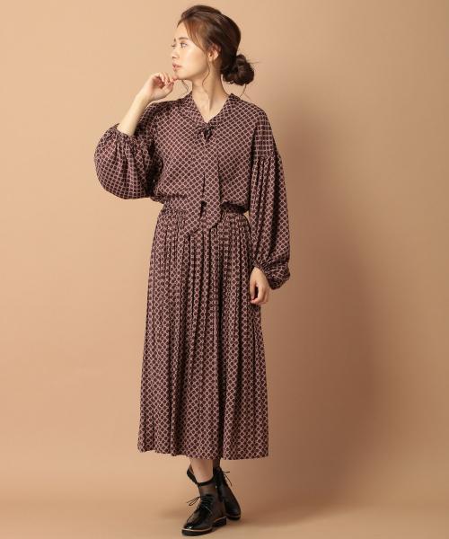[mysty woman] 小紋柄消しプリーツスカート 847823