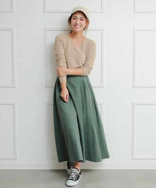 [clear] 【WEB限定/2019AW新作】ピーチフレアロングスカート