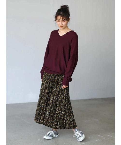 [AMERICAN HOLIC] 段々プリーツフレアロングスカート