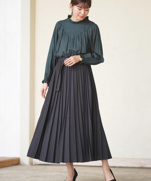 [rps] ベルテッドロングプリーツスカート