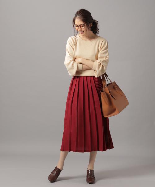 [Andemiu] ライトウールフウプリーツスカート