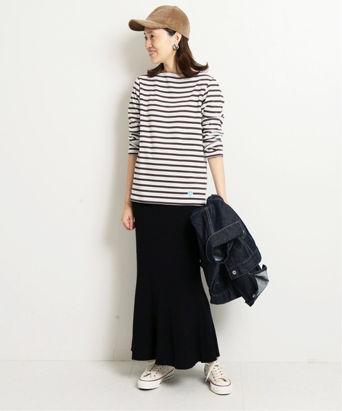 [IENA] ORCIVAL COTTON LOURD REGULAR ボーダーカットソー◆2