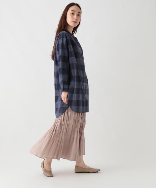 [studio CLIP] ワッシャースタンドシャツチュニック