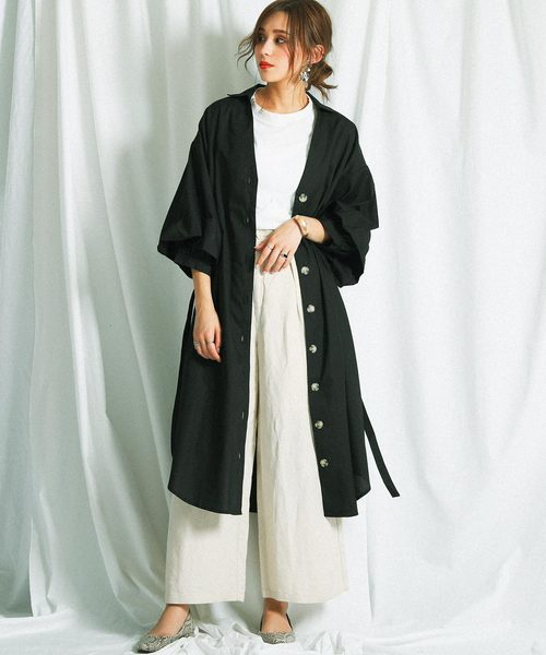 [Fashion Letter] ボリューム袖ロングシャツワンピース