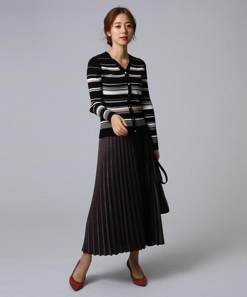 [UNTITLED] スウェード調サテン素材プリーツスカート