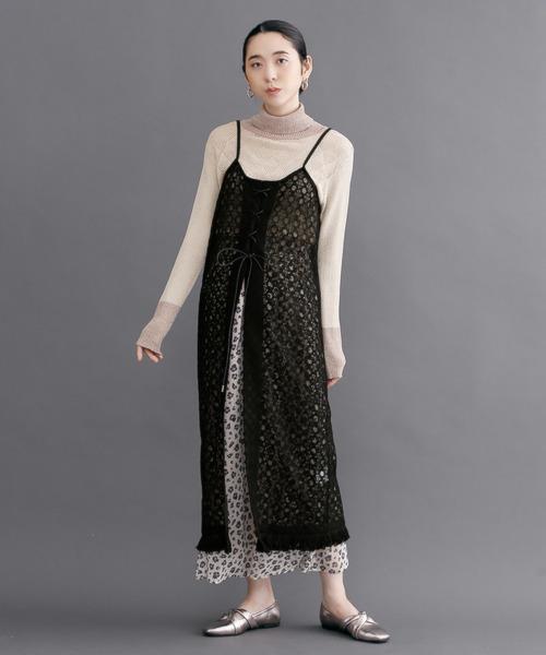 [merlot] 配色サークルレースフリンジキャミワンピ3348