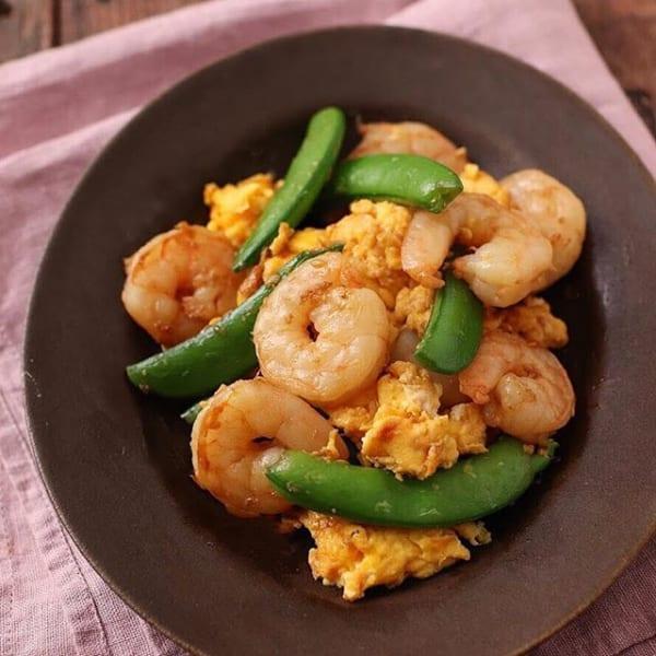 ⑯お弁当おかず:えびとスナップエンドウの卵炒め