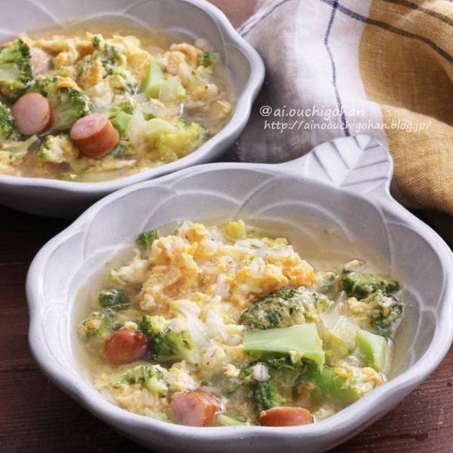 押し麦とブロッコリーとふんわり卵のおかずスープ