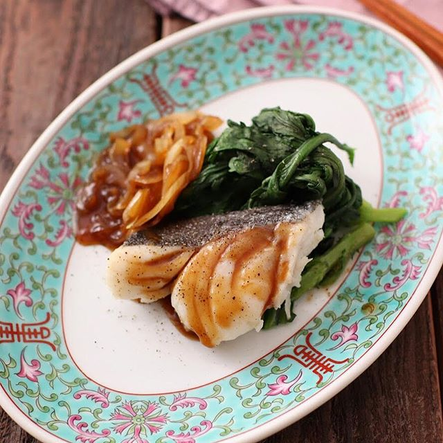 中華風味で鱈と春菊蒸し物