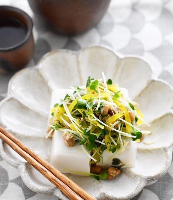 人気のおかず!たくあん納豆しらす豆腐