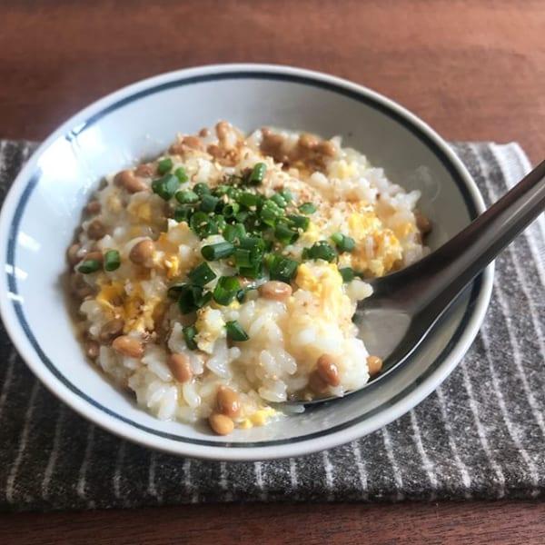 レンジで簡単!ふわとろ納豆雑炊