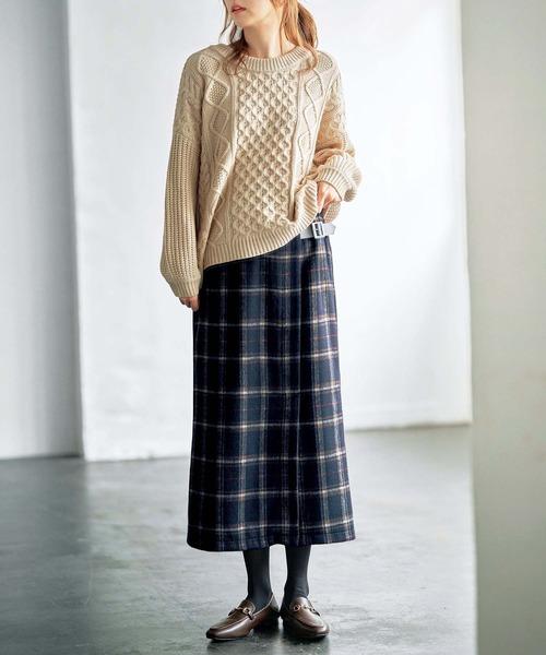 チェック柄スカート×カジュアルなコーデ