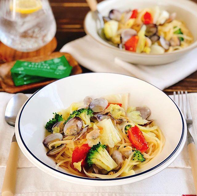 具沢山で人気!野菜とアサリのスープスパゲティ
